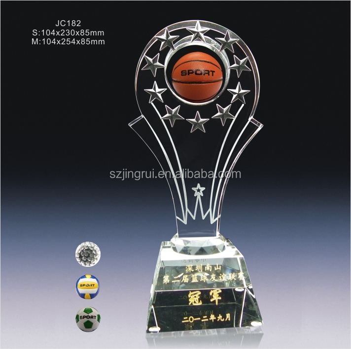 Wooden Base Custom Plaque Design Crystal Sports Trophy