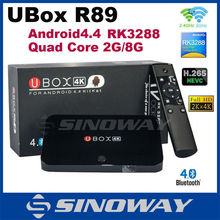 Original UBOX R89 Android 4.4 TV BOX RK3288 Quad Core 1.8GHz 2G/8G H.265 XBMC HD 4K*2K WiFi RJ45 OTG SPDIF Smart TV Mini pc
