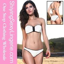 White Blue designer bandeau seamless reversible brazilian monogram bandeau top perfect grip bikini