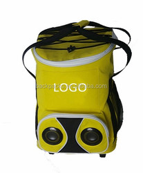 Rolling Trolley cooler bag with radio music speaker