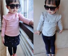 d10203b 2016 korean fashionable children long sleeves girls cotton t-shirt f