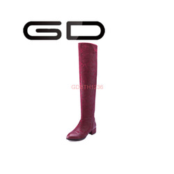 GD sexy low square heel pointed toe women boots with turned over edge