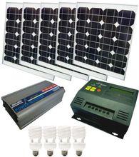 FULL 200W Solar PV Off Grid Power generator System Panel + regulator + inverter