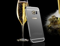 Women Make up Back Gold Aluminium Mirror For Samsung S6 Case Cover Bumper