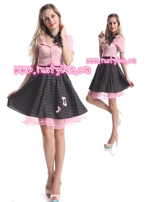 grossisti instyles signore 1950 grasso hop calzino rosa polka dot costume costume produttori