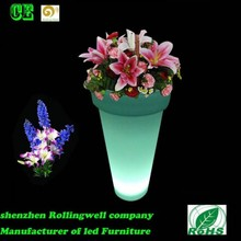 LED colorful large led flower pot/led illuminated furniture/gardern flower pot/led power flower pot