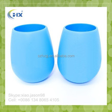 Factory price soft safety durable blue silicone wine glasses