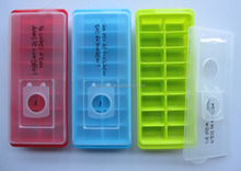 16cubes plastic ice cube tray with lid