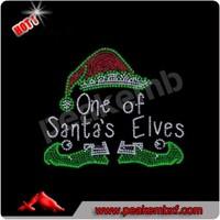 Hot Sale Hot Fix Rhinestone Motif Christmas Santa Iron on One of Santa's Elves Design for Clothes