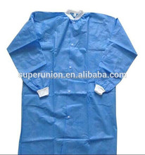 Blue waterproof surgical gown fabric with knitted cuff