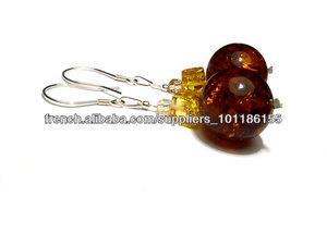 Argent 925 , Boucles d'oreilles , ambre, avec des éléments Swarovski , boucles d'oreilles, des ensembles , des bijoux