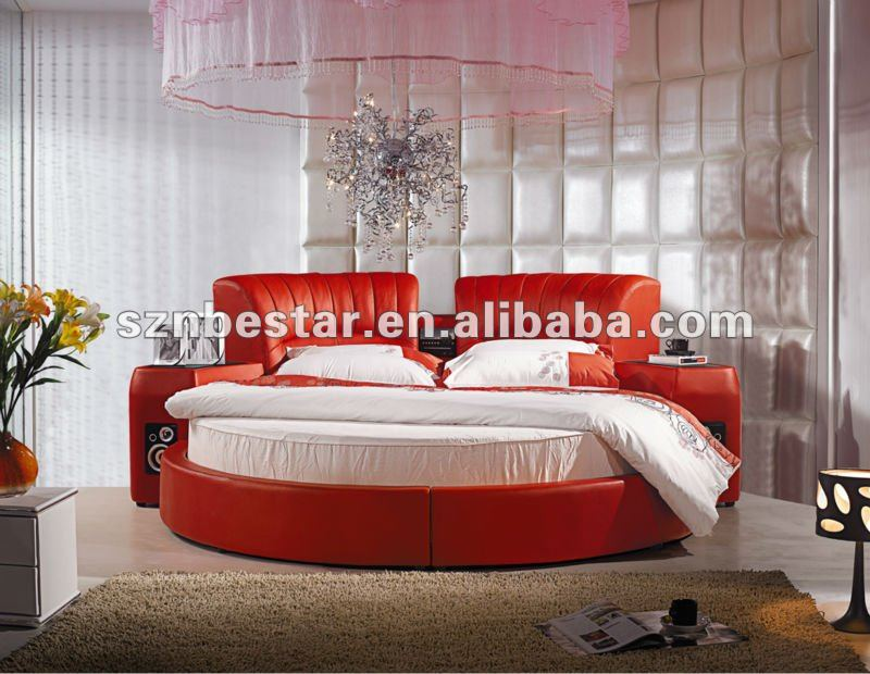 sexy 2013 weiches leder rundes bett m bel schlafzimmer. Black Bedroom Furniture Sets. Home Design Ideas