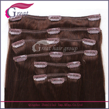 """Greathairgroup120g/pack brown color 22"""" Remy hair clip in hair weft"""