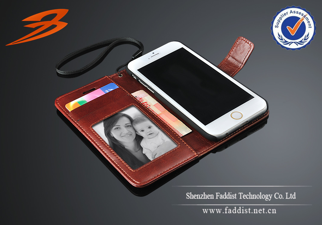 High quality PU leather case for iphone 6 with wallet stand
