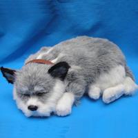 Sleeping beautiful fake fur breathing dog plush fabric
