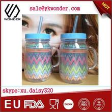 insert paper logo plastic mason jar mug