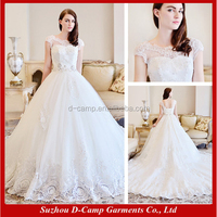 WD-1907 Latest design ball gown short sleeve lace pictures of beautiful wedding gowns 2015