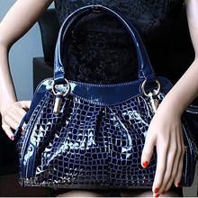 China goods wholesale leather bag woman fashion patent leather tote handbag EMG3732