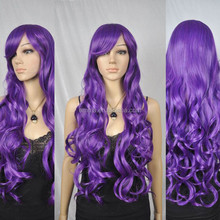 2015 hot sale lace hair wig high quality synthetic long purple hair wig W8046