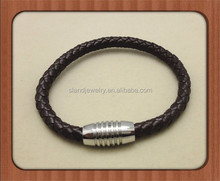 6mm Braided Dark Brown Leather Mens Bracelet Wristband with Magnetic Stainless Steel Clasp 8 Inches