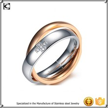 316l stainless steel custom signet double ring gold ring design for couples