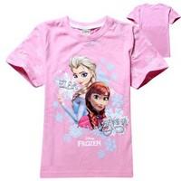 2015 new fashion girl frozen short tshirts for 2-8 years girls tshirt mixed patterns wholesale frozen girls tshirt