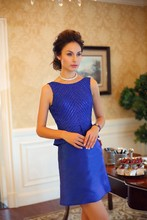 Wholesale agency siduo L80111 Sleeve Crystal Beaded blue cocktail dress