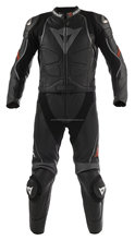 Stylish Black/Anthracite Biker Motorcycle Jacket One-Piece Trouser Suit - 100% Genuine Leather