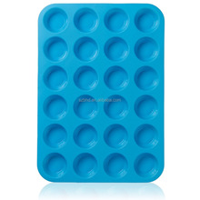 BPA Free Large Mini Muffin Pans - 24 Cup Jumbo Silicone Pan for Cupcakes and Premium Baking- Non Stick Bakeware
