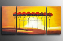 landscape picture decorative abstract oil painting on canvas,2015 newest desgin 3 panel oil painting