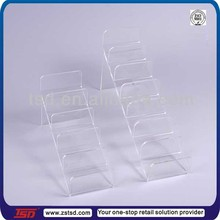 TSD-A805 Custom high quality retail store 5 tier acrylic stair step display,wallet display,acrylic wallet display holder