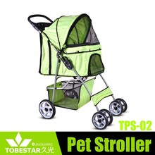 New Cat Dog Cage 4 Wheels Stroller Travel Folding Carrier