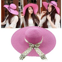 2015 new large brimmed brim rope hat knitted lace ladies summer beach Weave sun folding Straw Hat