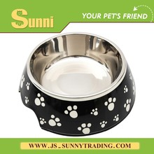 Hot sale Melamine Stainless Steel Slow Feed Dog Bowl