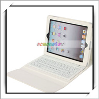 For iPad 4 Leather Case White With Bluetooth Keyboard