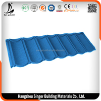 Decorative stone coated meta roof tile for building construction material