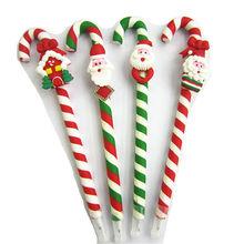Polymer clay Christmas candy cane ball pen