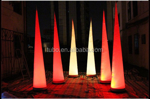 Free-shipment-3m-height-color-changing-LED-inflatable-pillar-horn-cone-ball (4)