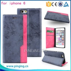 Mixed colors Leather mobile phone cover for iphone 6 case, mobile flip cover for iphone 6 plus
