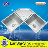 LL8383 stainless steel water trough double bowl undermount corner sink