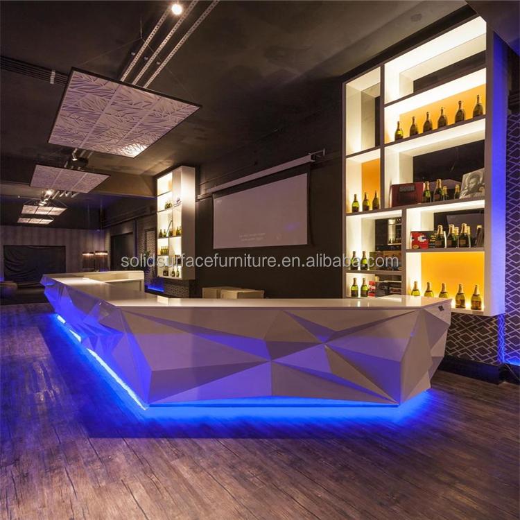 Led iluminado boate elegante e moderno de balc o de bar for Bar madera moderno