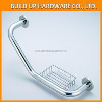 Perdurable Exquisite and Graceful Brushed Brass Right Hand of L-shaped Grab Bar