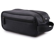 Mens Economy PU Leather Travel Sundry Kit Mens Toiletry Grooming Bag Black