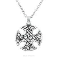 Fashion Religious Vintage Silver Cross Pendant Wiccan Jewelry Link Chain Necklaces