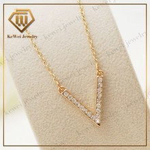 Fashion gold plated diamond necklace, V-shaped clavicle chain