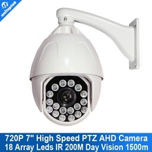 7 Inch 1.3MP 720P HD PTZ 36X Optical Zoom Lens IR 200m And Day Vision 1500m Weatherproof High Speed Dome AHD Camera With Bracket