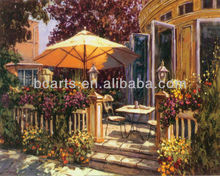 Sunny cafe, OEM modern beautiful cafe decorative painting, handmade landscape oil painting for restaurant and cafe