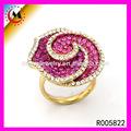aglomerado atacado lote grande anel strass rosa flor em forma de diamante anel de noivado