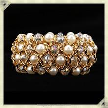 2015 Fashion artificial gold chain bracelet gold pearl chain bangle bracelet gold chunky chain bracelet (QMB-001)