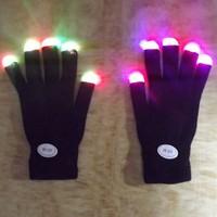 Wholesale color changing led finger glove led glowing gloves